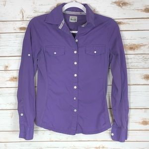 Converse 1 Star Purple Button Down Roll Up Sleeve